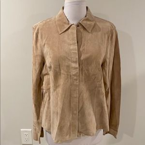 Co & Eddy Washable Suede Snap Front Shirt Wheat